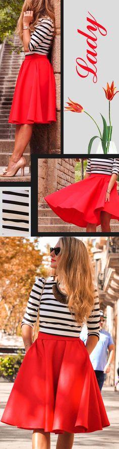 Red High Waist Flare Skirt,Perfect Summer Look