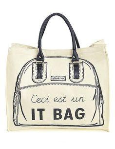 Simple blanco impreso bolsa de lona para mujer - Milanoo.com