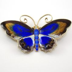 Vtg David Andersen Sterling Silver Modernist Large Enamel Butterfly Pin Brooch #DavidAndersen