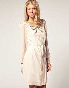 Bow Front Pleat Dress
