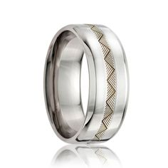 KENYA    Beveled Edge Cobalt Band w/ a 2mm Engraved Argentium Silver Inlay    |    8mm