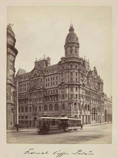 """""""Federal Coffee Palace at 555 Collins St,Melbourne,Victoria.Demolished in as to what year this was taken. Renaissance Architecture, Vintage Architecture, Amazing Architecture, Melbourne Victoria, Victoria Australia, Queen Victoria Market, Melbourne Australia, West Melbourne, Brisbane"""