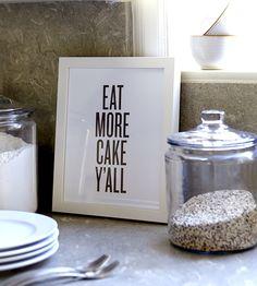 Eat More Cake Letterpress Print