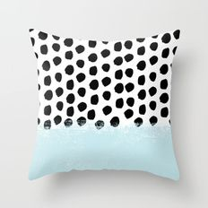 Throw Pillow featuring Lolita - Modern Mint Dots Abstract Paint… by CharlotteWinter