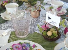 Table setting for tea. Name baskets are nice.