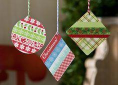 Washi Tape Ornaments using Acrylic Shapes