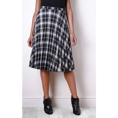 Liquorish Pleated Midi Skirt in Check ($45) ❤ liked on Polyvore featuring skirts, black and white checkered skirt, black white plaid skirt, black and white midi skirt, mid length skirts and black and white plaid skirt