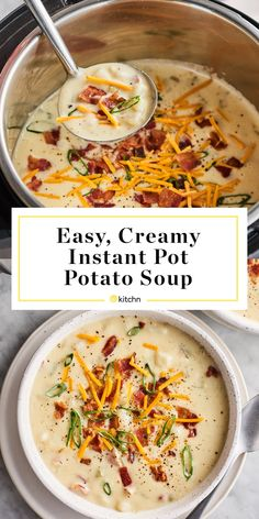 Easy, Creamy Instant Pot Potato Soup A duo of milk and cream cheese give this Instant Pot potato soup an irresistible thick and creamy texture, while bacon adds a gentle smoky aroma. Instant Pot Potato Soup Recipe, Best Instant Pot Recipe, Instant Pot Dinner Recipes, Crock Pot Potato Soup, Easy Potato Soup, Instant Pot Meals, Healthy Potato Soup, Potato Bacon Soup, Loaded Baked Potato Soup