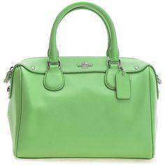 Coach Pistachio Bennett Mini Leather Satchel ❤ liked on Polyvore featuring bags, handbags, mini handbags, leather purses, genuine leather purse, green leather handbag and green leather purse