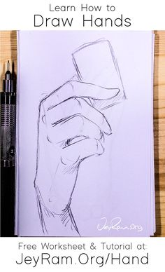 Learn how to draw hands with the free worksheet on the site & the step by step tutorial. There are 4 stages of understan Drawing Lessons, Drawing Techniques, Art Reference Poses, Drawing Reference, Art Drawings Sketches, Easy Drawings, Learn To Draw, How To Draw Hands, Art Du Croquis