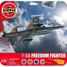 Northrop Freedom Fighter by Airfix - 38383 of Fighter Base, Mehrabad, Imperial Iranian Air Force, Set includes Humbrol poly cement, 1 paint brush and 4 acrylic paints. Airfix Models, Unsung Hero, Freedom Fighters, Planes, Air Force, Fighter Jets, Wings, Airplanes, Luftwaffe