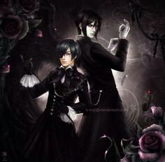 A realistic picture of Ciel and Sebastian. I love this Black Butler fan art