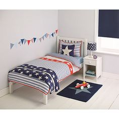 Buy little home at John Lewis Stars & Stripes Duvet Cover and Pillowcase Set, Single Online at johnlewis.com