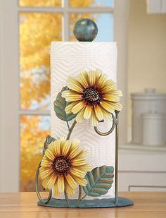 Metal Sunflower Paper Towel Holder Hand Painted Antique Finish Kitchen Decor New