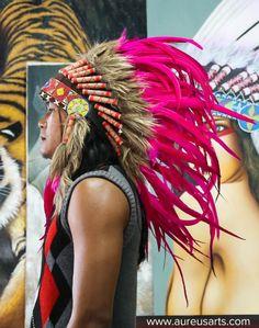 Beautiful Pink Headdress by Aureus Arts.   Amazing work! Two thumbs up!