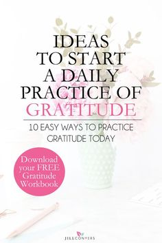 Begin each day by writing down everything you're grateful for in a journal. It's a wonderful way to start the day and create an overall feeling of contentment and happiness about life. Scientific studies have shown the power of positive thinking can affect our overall health. Feel and express gratitude as a regular practice and you will see your life is extraordinary. Click through to download the FREE 6-page gratitude workbook. Pin it now to read later.