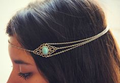 silver turquoise head chain chain headband by alapopjewelry