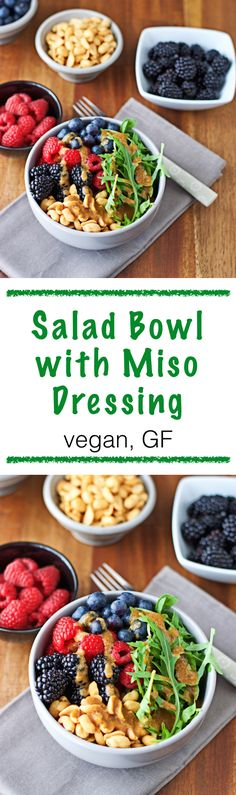 This salad bowl is one that fits the tightest of schedules, yet still delivers vitamins from the fresh berries, and crunchy satisfaction from the peanuts. Plus, the so healthy component of the miso. It's vegan and gluten free - and you have a healthy meal in no time.