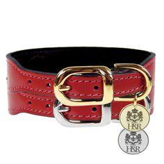Italian Leather Ferrari Red Dog Collar - Dog Collar Boutique