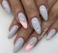 We have found 16 of the Best Nail Art Designs. When it comes to the best nail art, we have you covered. Below you will find inspirational nail art designs that will get you motivated to get your nails done. Pink Stiletto Nails, Gray Nails, Glitter Nails, Fun Nails, Pink Glitter, Coffin Nails, Jade Nails, Color Nails, Nail Pink