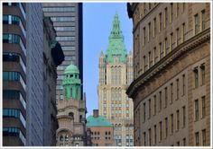 Probably my favorite shot for the last two weeks :)  Amazing Woolworth Building (233 Broadway, New York, NY ) & Trinity Building (111 and 113 Broadway at Thames Street, New York, NY).  Taken at Battery Pl / State St & Broadway intersection.