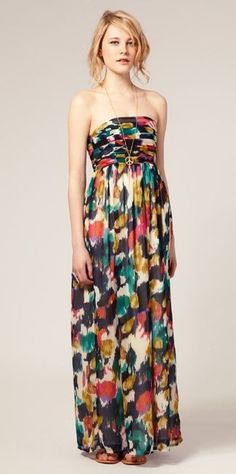 Pretty Strapless maxi colorful dress for ladies... click on picture to see more fashions