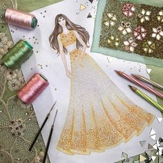 ✨ A custom illustration for our lovely bride mehendi look! Fashion Illustration Tutorial, Fashion Drawing Tutorial, Dress Illustration, Fashion Illustration Dresses, Fashion Illustrations, Fashion Design Sketchbook, Fashion Design Drawings, Fashion Sketches, Fabric Drawing