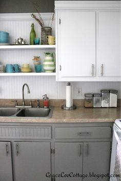 Wonderful Grace Lee Cottage: Updating Old Kitchen Cabinets
