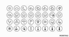 Vektor: Modernes Wetter und Meteorologie Vektor Line Icon Set