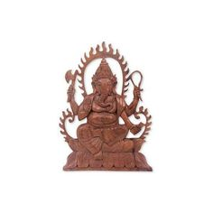 NOVICA Balinese Artisan Carved Hindu Relief Panel of Ganesha (€57) ❤ liked on Polyvore featuring home, home decor, brown, relief panels, wall decor, novica, novica home decor, wooden home decor and wood home decor