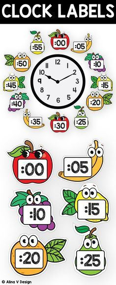 rintable clock labels for teachers to use for kids to learn telling time in a fun and creative way.