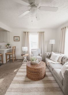 A small rental home decorated in a cozy beachy cottage style on a budget! Get all the details from home blogger and interior decorator Liz Fourez Small Dining, Small Space Living, Small Spaces, Living Spaces, Shabby Chic Cottage, Cottage Style, Beige Living Rooms, Blogger Home, Cabinets And Countertops