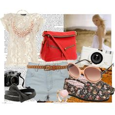 American Tourist by merrbearr on Polyvore featuring moda, Dorothy Perkins, TOMS, Dooney & Bourke, H&M, Astley Clarke, Lanvin, Forever 21, Lomography and lace