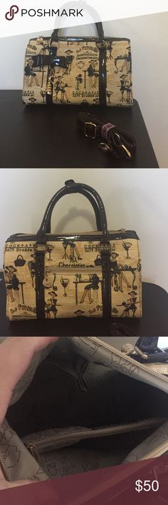 Beautiful brown/tan handbag (crossbody option!) NWOT - Never been used! This bag is gorgeous! Dark brown trim is shiny, and the tan design is super chic! Bundle for a discount. Bags Satchels