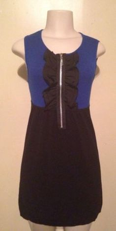 Liv Black Blue Colorblock Knit Sweater Sleeveless Tank Tunic Jumper Dress Medium $19.99