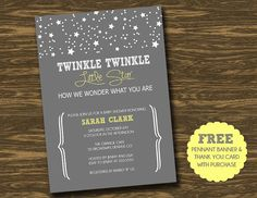 Twinkle Twinkle Little Star Baby Shower Invitation - Printable