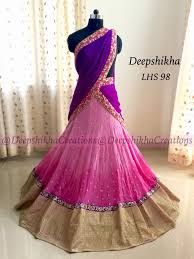 Beautiful bridal lehangas in jaw dropping styles from Deepshikha creations Unique, stylish designer lehangas in great color combinations can be customized to your color preferences. best suits for receptios and mehandi functions Half Saree Designs, Saree Blouse Neck Designs, Simple Blouse Designs, Lehenga Designs, Half Saree Lehenga, Lehenga Gown, Saree Dress, Sarees, Pink Lehenga
