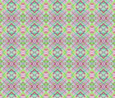 Pastel Cherry Limeade Plaid on the Diagonal, in pink, red, green and teal fabric by maryyx on Spoonflower - custom fabric