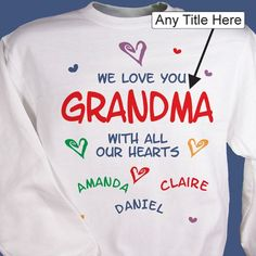 Give a gift of love by getting Personalized gifts for grandparents. Add a personal touch to any of our grandparents T-shirts, mugs, or other grandparents gifts. Personalized Gifts For Grandparents, Grandparent Gifts, Great Grandma Gifts, Vinyl Gifts, Valentines Day Shirts, T Shirt Costumes, Joy And Happiness, Diy Shirt, Custom Labels