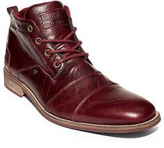 $169, Burgundy Leather Boots: Steve Madden Kramerr. Sold by Steve Madden. Click for more info: https://lookastic.com/men/shop_items/288716/redirect
