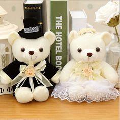 2 pcs/lot 20cm Kawaii 1Pair NEW Wedding Gift Bride & Groom Bear Bouquet DOLL TOY ; Plush Stuffed TOY Soft Figure DOLL TOY