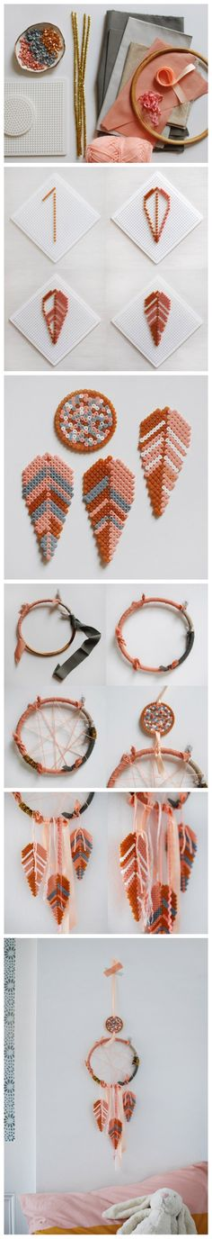 - Helmet Designs - DIY: Make a lovely dream catcher with Hama bead feathers DIY: Make a lovely dream catcher with Hama . Perler Beads, Fuse Beads, Perler Bead Designs, Hama Beads Patterns, Beading Patterns, Art Perle, Motifs Perler, Iron Beads, Dreamcatchers