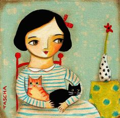 ORIGINAL painting TWO CATS portrait painting one of a kind by tascha on canvas by Tascha