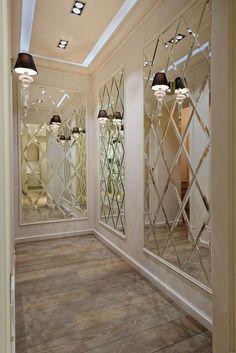 Ceiling Design, Wall Design, House Design, Mirror Wall Tiles, Mirrored Tile Bathroom, Decorative Wall Mirrors, Wall Mirror Ideas, Mirrored Walls, Hallway Mirror