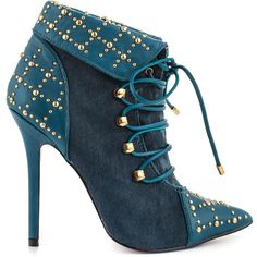 London Trash Women's Della - Blue ($160) ❤ liked on Polyvore featuring shoes, boots, ankle booties, booties, blue, high heel booties, sexy high heel boots, faux fur booties, pointed toe booties and blue boots