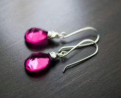 Hot Pink Quartz Gemstone Sterling Silver Wire Wrapped Earrings