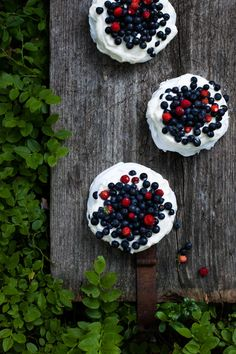 Mini Almond Pavlovas with Forest Berries