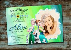 Frozen Fever Birthday Invitation, Frozen Fever Birthday Party,Frozen Fever Invitation, Frozen Birthday Invitation, With Free Thank You Card by TDADesign on Etsy