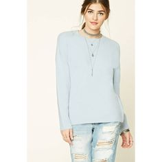 Forever21 Brushed Knit Sweater (1,065 INR) ❤ liked on Polyvore featuring tops, sweaters, ribbed crew neck sweater, forever 21 tops, forever 21, long sleeve crew neck sweater and long sleeve sweater