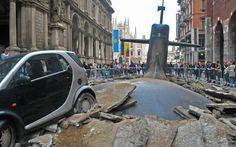 #L1F3 submarine emerges in milan's city center, piazza mercanti - designboom   architecture & design magazine